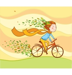 Girl on bike autumn background vector