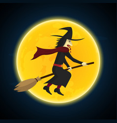 halloween witch flying on broom and moon vector image