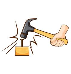 Hammer hitting nail on wooden block vector