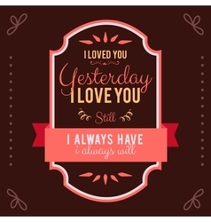 Hand-lettered vintage st valentines card - with vector