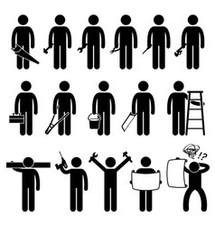 Handyman worker using diy work tools stick figure vector