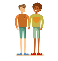 happy gay couple spending time together vector image