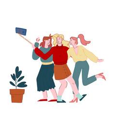 happy girl friends company having fun making vector image