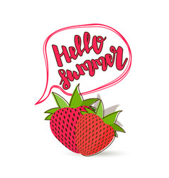 Hello summer strawberry comic text bubble vector