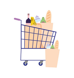 Hoarding purchase shopping cart and bag vector