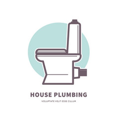 house plumbing promotional logotype with ceramic vector image