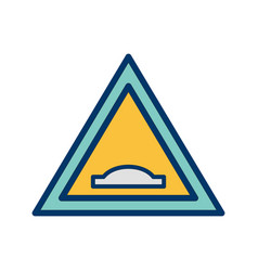 Hump bridge road sign icon vector