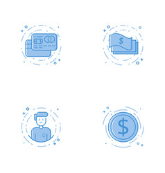 Icons with credit cards cash character and coin vector