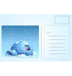 Igloo postcard vector image