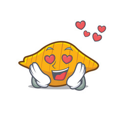 In love conchiglie pasta mascot cartoon vector