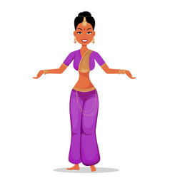 indian girl character in beautiful traditional vector image