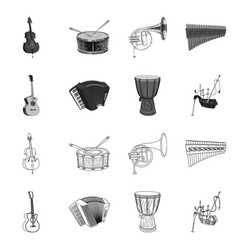 isolated object of music and tune symbol set of vector image