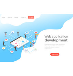 Isometric flat landing page template of web vector