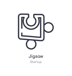 jigsaw outline icon isolated line from startup vector image