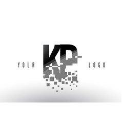 kp k p pixel letter logo with digital shattered vector image