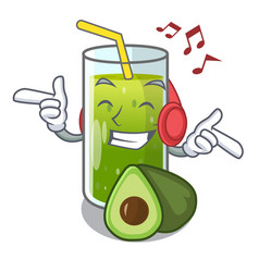 Listening music avocado smoothies are isolated on vector