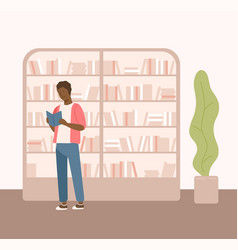 male black skin holding book near bookcase at vector image