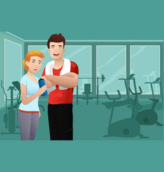 Man and woman wearing sport outfit vector