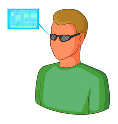 Man with future high tech smart glasses icon vector
