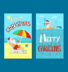 Merry christmas santa claus lying on sunbed vector