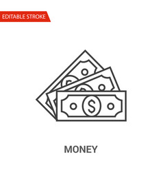 Money icon thin line vector