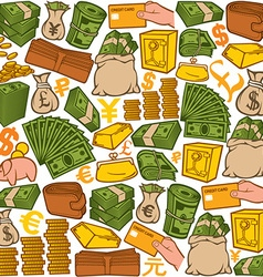 money icons seamless pattern vector image