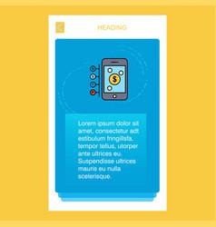 Money through smartphone mobile vertical banner vector