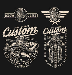 Motorcycle vintage monochrome labels collection vector