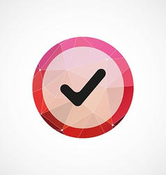 ok circle pink triangle background icon vector image