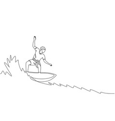 one single line drawing young sporty surfer vector image