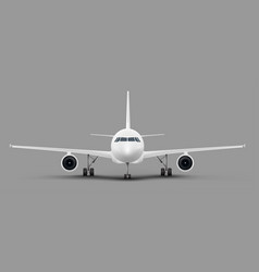 Passenger airplane front view template vector