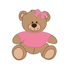 Pink bear girl vector