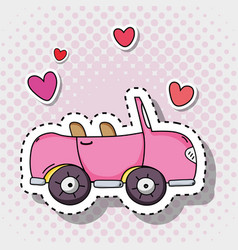 Pink car transportation with hearts patches vector