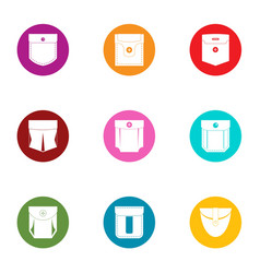 pouch icons set flat style vector image