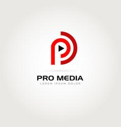 Pro media logo symbol icon vector