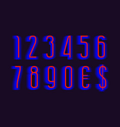 Red blue layered energetic numbers and currency vector