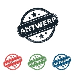 Round Antwerp city stamp set vector