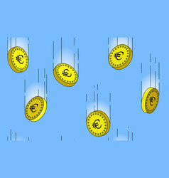 seamless pattern euro gold coins falling in the vector image