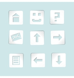 set of paper icons on blue background vector image