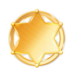 Sheriff badge star police golden hexagonal vector