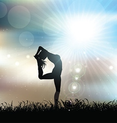 Silhouette of a female in a yoga pose in sunny vector image