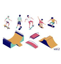 skate park set flat isometric vector image