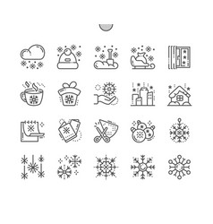 Snowflakes well-crafted pixel perfect thin vector
