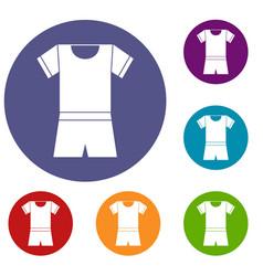 sport shirt and shorts icons set vector image