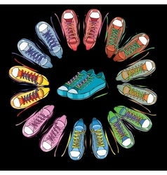 Sport shoes sneakers round on vector image