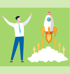 startup project symbol businessman and rocket vector image
