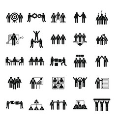 team building training icons set simple style vector image