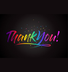 Thankyou word text with handwritten rainbow vector