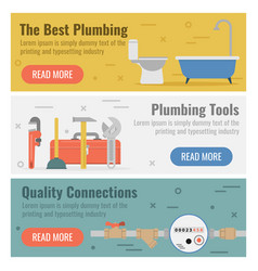 Three banner for plumbing service vector