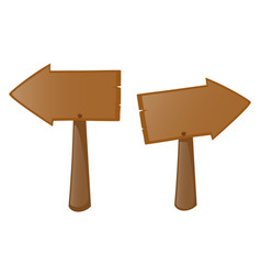 Two wooden sign left and right vector